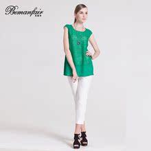 3折年中促销蕾丝上衣圆领拼接复古2017短袖上衣女夏新款打底衫潮