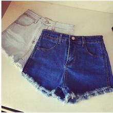 查看2015夏季新款韩版蓝色高腰弹力修身牛仔短裤女流苏毛边大码热裤子