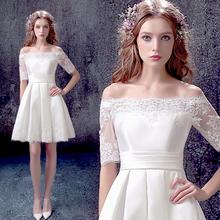 查看白色中长袖新娘结婚敬酒服婚礼短款婚纱小礼服2015冬季新款322Q