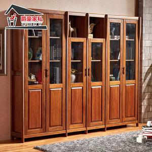 书柜定做实木人气排行 简约美式书柜实木书架陈列展示层板架北欧书橱