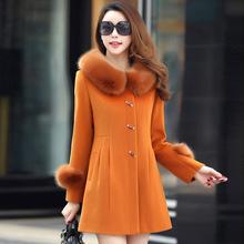 查看2016新款毛呢外套女中长款妈妈装时尚外套秋冬装羊绒大衣韩版修身