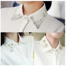 查看韩版带钻镶水钻领子钉珠白衬衣百搭秋冬打底雪纺翻领衬衫女长袖OL