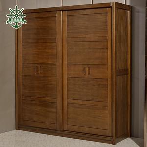 移门衣柜推拉门松木衣柜全实木简约宜家组装儿童衣橱1 1.2米定制