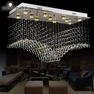 创意个性水晶餐吊灯LED吊线灯吧台隔断帘鱼线吊灯长方形大厅吊灯价