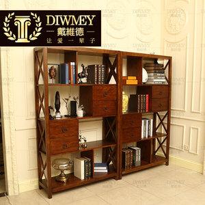 简约美式书柜实木书架陈列展示层板架北欧书橱书桌组合橡木定制价格