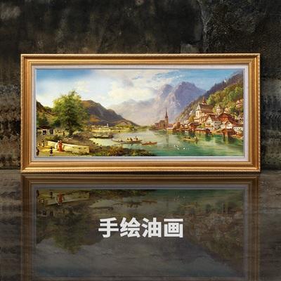 客厅装饰画大幅挂画大尺寸山水画手绘油画横版欧式大气风景纯手工