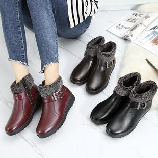 中老年平底棉鞋女冬季保暖加绒软底短靴子老人棉靴中年妈妈鞋皮鞋