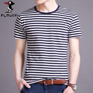 夏季男士短袖t恤韩版圆领潮流条纹半袖体恤潮牌男装上衣服