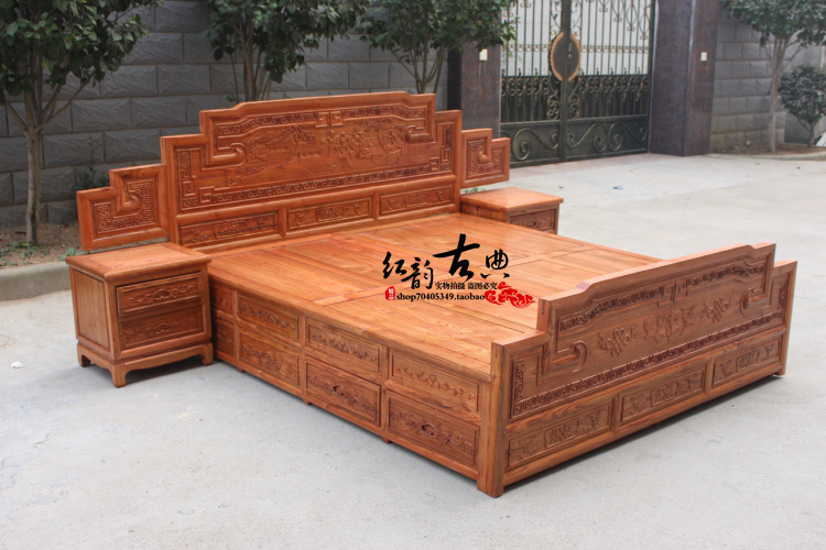 Chinese antique furniture antique solid wood bed 1.8 meters double bed carved elm