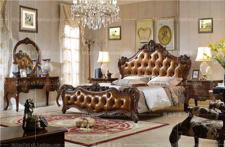 European style leather bed, American double bed, pure solid wood carving bed, villa bedroom furniture, marriage bed top grade