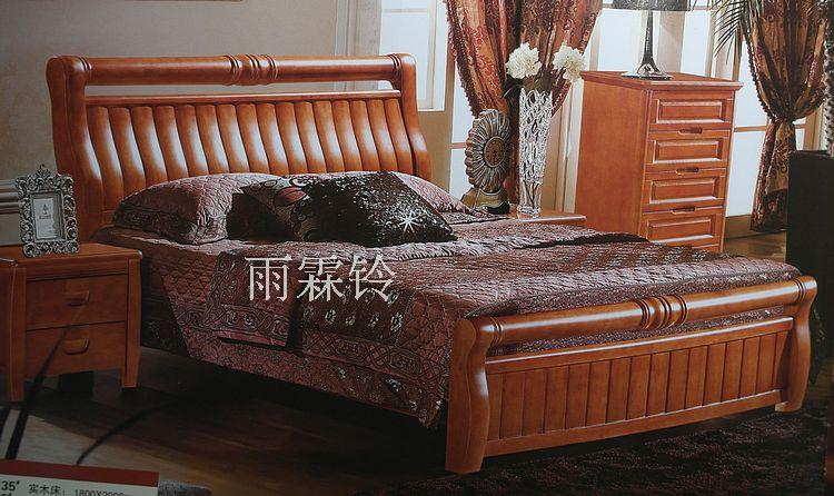 Yi solid wood 1.8 meters double bed solid wood high box bed oak I hydraulic pressure bed plate type bed 9018#