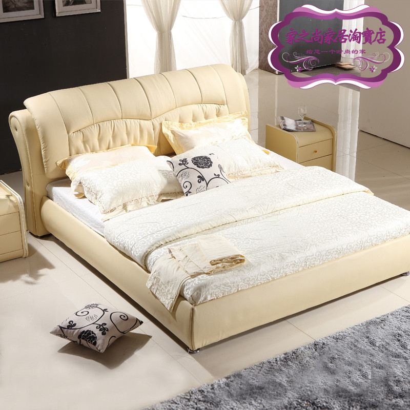 The new garden 1.8 meters 2 meters double bed leather leather soft bed large-sized apartment marriage bed of soft leather on the bed