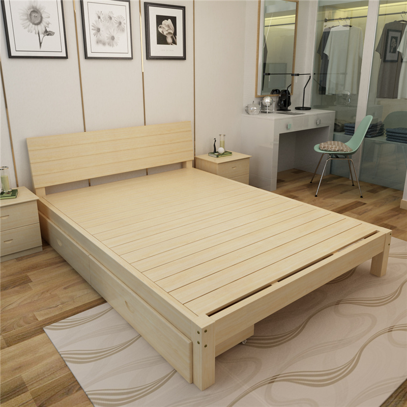 Single bed double bed solid wood furniture for children bed rental housing double bed by adult pine wood furniture