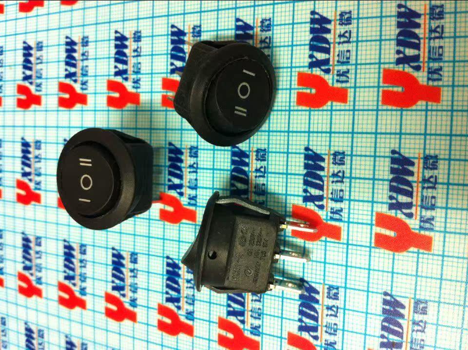 En la nave KCD-105 interruptor interruptor tipo botón rojo circular alrededor de 3 pies por debajo de 3 archivos 6A250V circular
