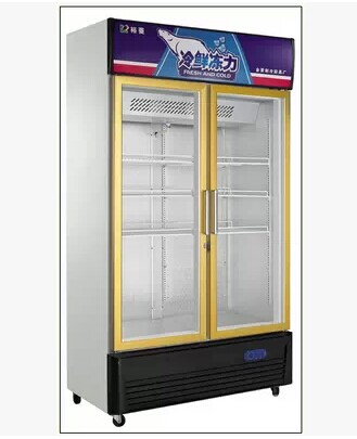 Golden Dragon G688L2F double door refrigerated glass display cabinet, commercial air cooled single temperature vertical fresh-keeping cabinet special price