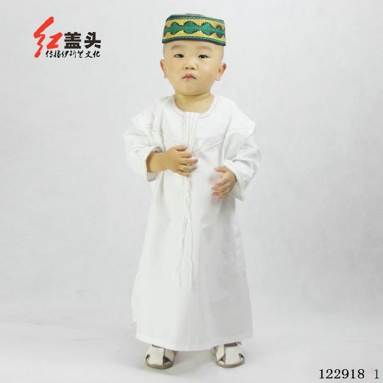 12291820穆斯林服裝男回族男孩禮拜服兒童寶寶禮拜長袍沙特男孩禮拜圓領