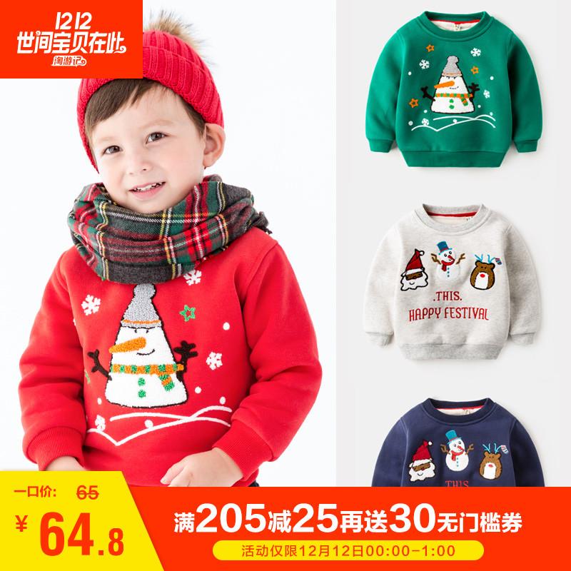 圣诞节男童宝宝卡通女童卫衣儿童加绒中大童冬装男婴儿打底衫童装