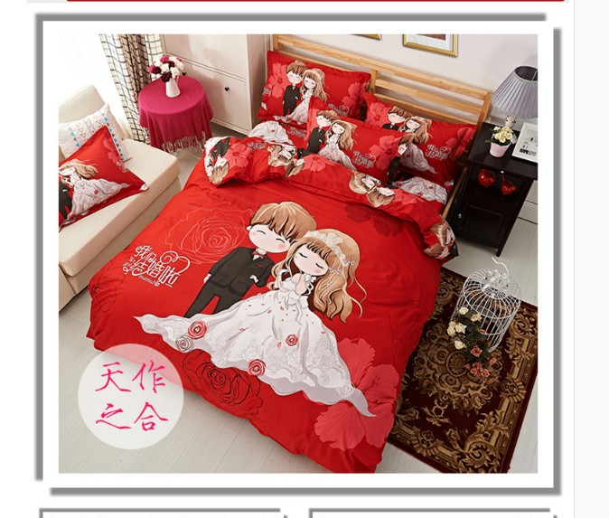 Lovely pure spring water spring Chinese Tencel quilt thickened bed four pieces Double Happiness festive red sheets