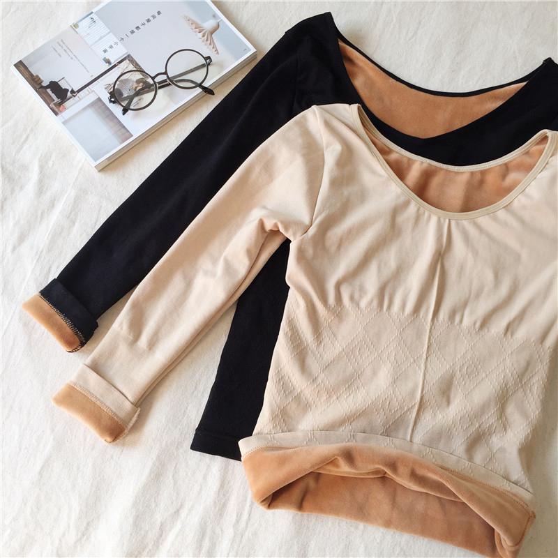 秋鼕女裝韓版修身百搭圓領加絨加厚打底衫長袖保暖內衣T恤上衣潮