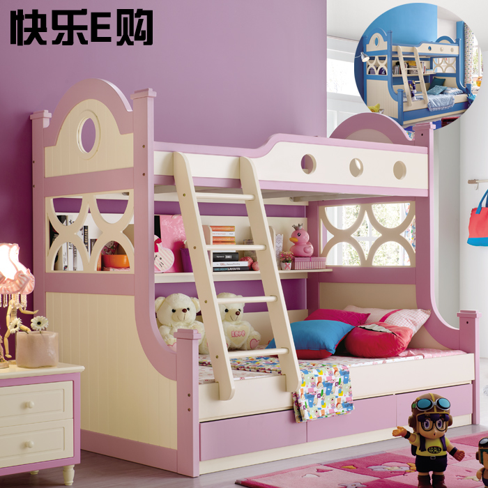 The children bed boys mother double bed with storage pumping powder / Blue 1.35 meters double bed girl children