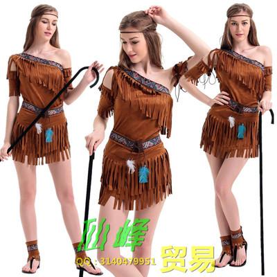 万圣节服装埃及艳后原始人土著服流苏印第安部落公主裙舞台演出服