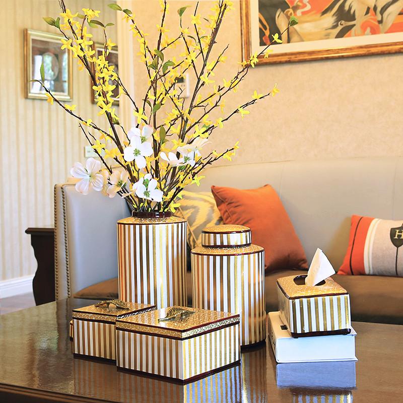 大花瓶現代簡約客廳陶瓷花瓶擺件首飾盒紙巾盒創意家居電視柜裝飾品擺設