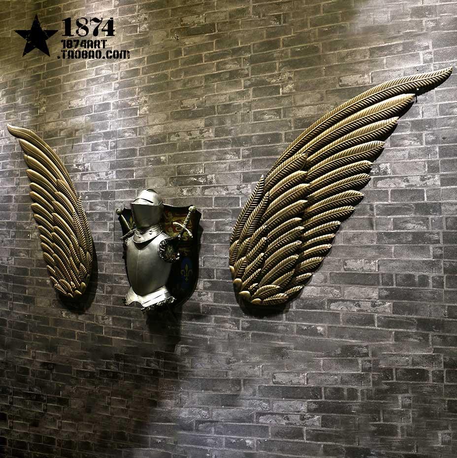 古銅色一對翅膀loft工業風裝飾鐵藝翅膀壁飾墻上裝飾品墻面掛飾辦公司酒吧咖啡廳