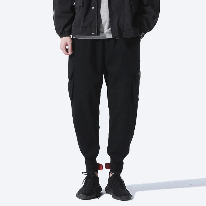 二十八間秋季男裝多口袋工裝褲魔術貼束腳褲潮男休閑長褲男士褲子