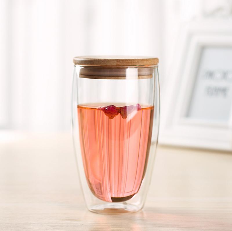 波頓大號450ml(竹木蓋)!雙層隔熱玻璃杯子帶蓋 創意玻璃花茶杯 辦公室透明水杯耐熱