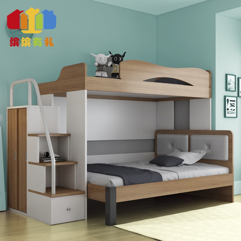Children bed high and low bed, double deck, mother and child bed, ladder cabinet, wardrobe, desk combination bed, modern simple multifunctional bed