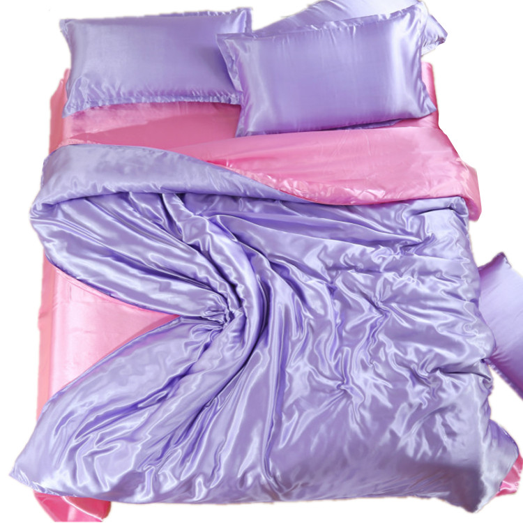 The spring and summer of four sets of textile bedding Tencel pure silk satin bedsheets simple fitted clearance