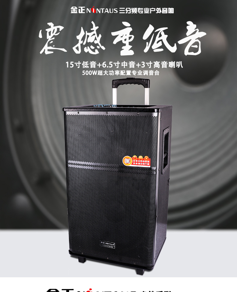 Nintaus 15 inch outdoor pull rod sound high power mobile square dance charge Bluetooth sound box ad sound