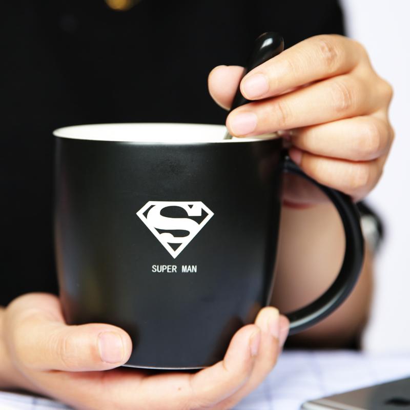 大馬克杯帶蓋勺定制LOGO咖啡杯陶瓷簡約送男女朋友辦公水杯子
