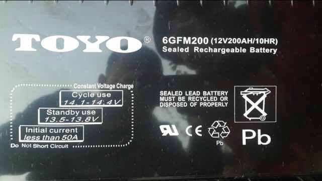 Toyo battery, 6GFM200JAPATOYO battery, 12V200AHUPS power supply, EPS DC Panel Battery
