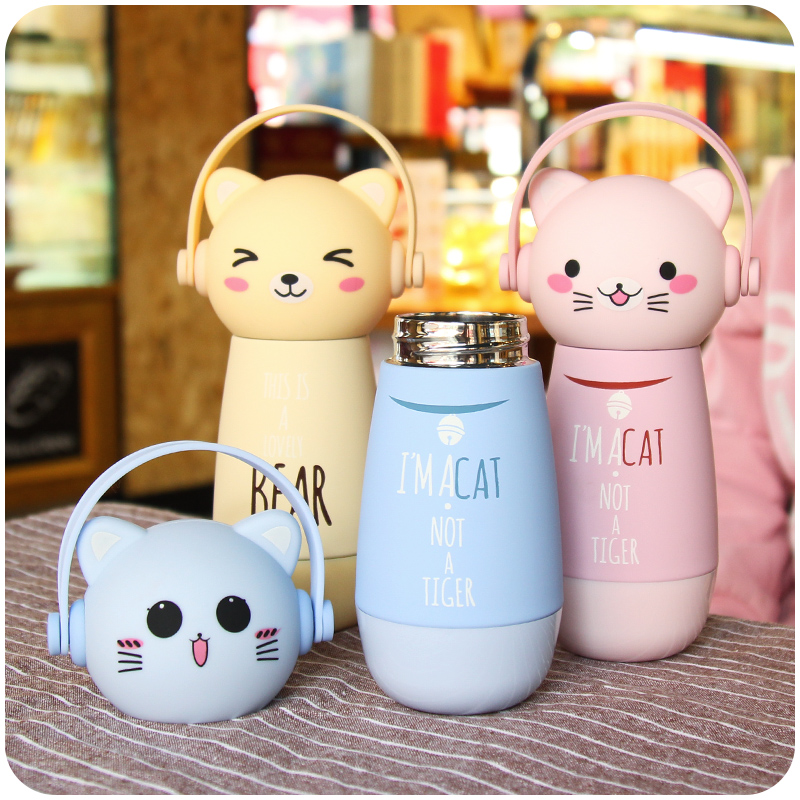 Vacuum Korean Mug Cup, children's thermos cup, cute cup for boys and girls, small and fresh, portable, personalized cartoon