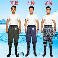 Pants, pants, fishing pants, thick conjoined waterproof fishing pants, rain leather clothes, fishing clothes, leather fork, pants conjoined