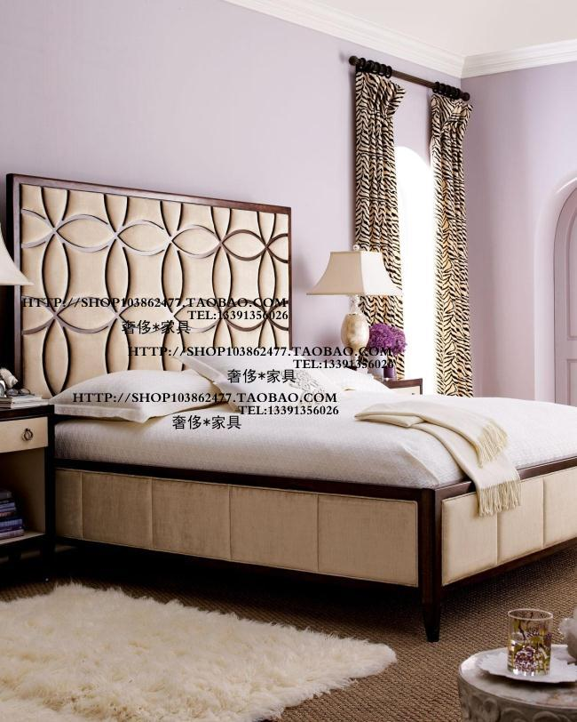 The export of European furniture Ousuo Louis Heim style carved wood fabric soft double wedding bed furniture