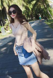 新款女装纯色休闲针织吊带背心女短款韩版修身性感学生打底上衣潮