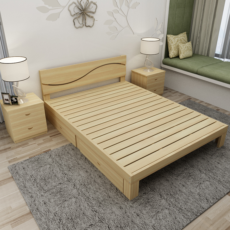 High feet men's solid wood bed, adult double bed style, 1.5 meter bed for children, 1.8 meters bed for bed, single bed combination