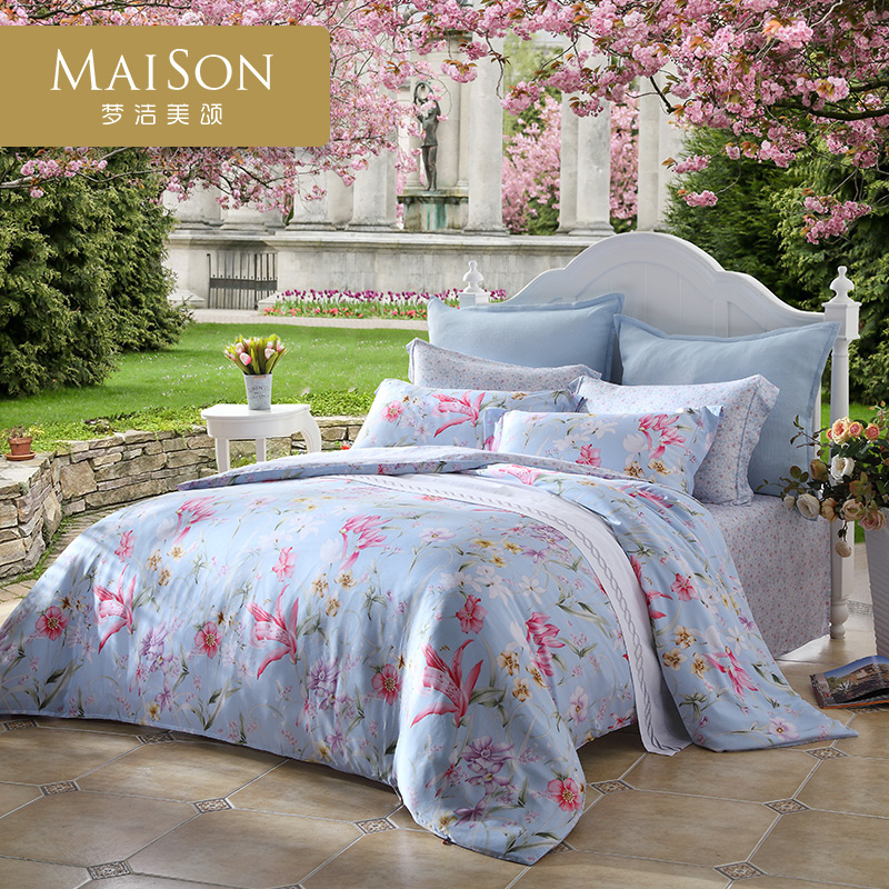 Mengjie Meisong summer bed four pieces of Tencel simple printing quilt bed single bed new 1.5m1.8 meters