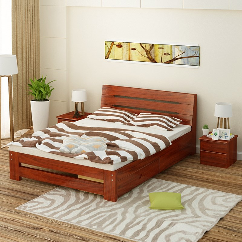 Simple modern wood bed, 1.8 meters double bed, single board bed, 1.2 meters, 1.5 meters, pine log bed bag