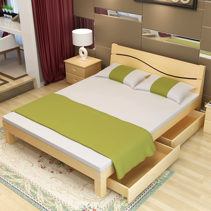 A simple wooden bed 1.8 meters double bed single bed adult rental housing 1.5m 1.2 methoxyflavone wooden special offer