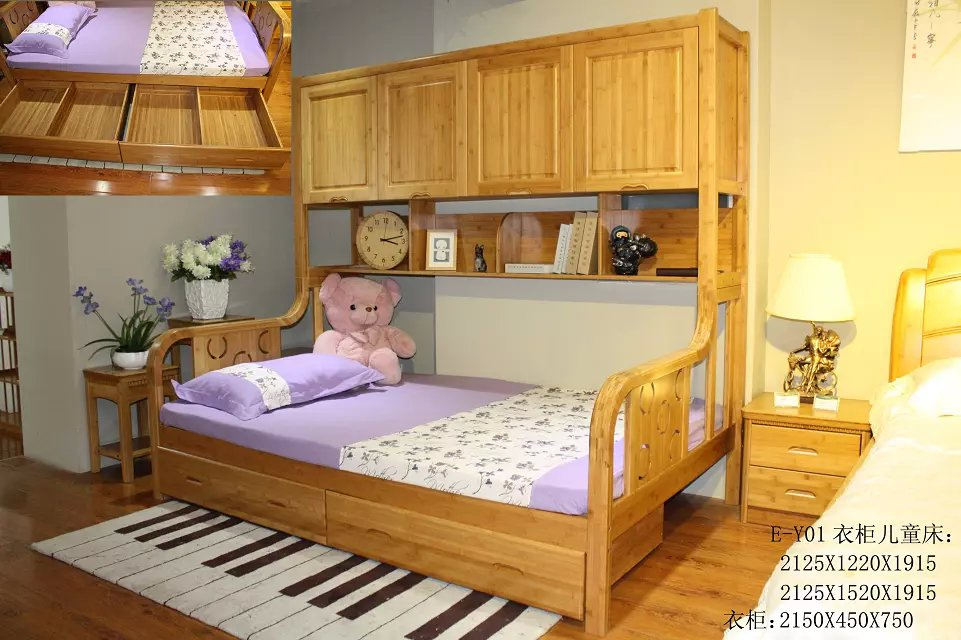 With bamboo storage cabinet children bed double bed