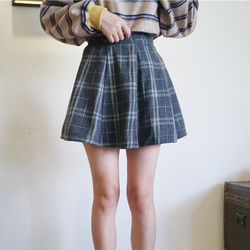 秋裝新款女裝韓版松緊腰學院毛呢蛋糕裙學生格子半身裙A字裙短裙