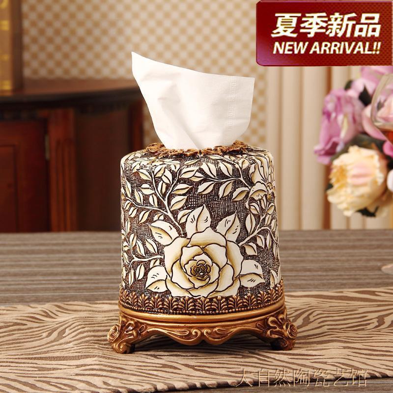 001款歐式高檔樹脂雕刻紙盒筒復古家居飾品客廳餐桌卷紙盒抽式紙巾筒