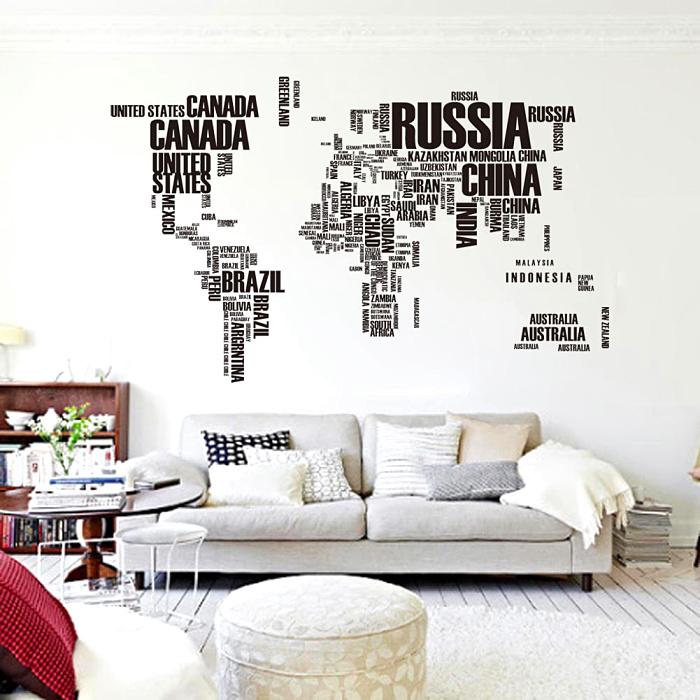 圖片色大英文字母世界地圖 超大黑色壁紙墻貼116cm*190cm 家居精美墻貼