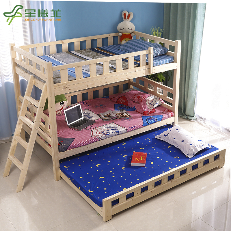 All solid wood bunk bunk bed and three adult children bed guardrail can be split Tuochuang furniture