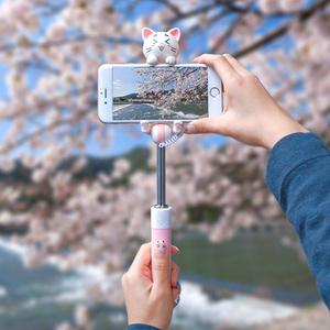 猫先生卡通线控自拍杆神器 多功能车载手机支架 oppo小米vivo通用