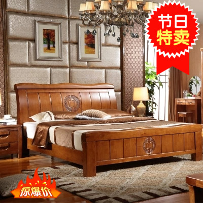Modern Chinese style new high-grade imported oak 1.5 meters 1.8 meters, double luxury luxury box store big bed mail