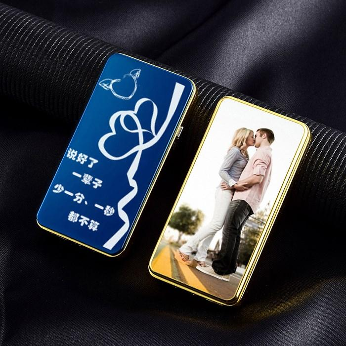 Creative ultra thin USB electronic smoke device personality gift DIY custom photo lettering anti wind charging lighter